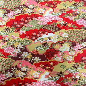 "JAPANESE ""METALLIC"" 100% COTTON RED COLOUR-WAY PRINT FABRIC (2293.18)"