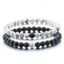 Distance Bracelets Couples/Friends Black White Natural Stone 2pcs - UK Seller