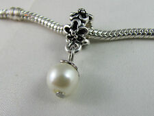 SILVER PLATED FAUX PEARL DANGLE CHARM FOR EUROPEAN STYLE CHARM BRACELETS -DC 044