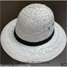 A594 White Pith Helmet Mens Womens Woven Jungle Safari Costume Hat Hunting