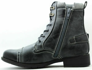 NEW GIRLS BOYS SCHOOL FASHION BLACK  ZIP UP MILITARY ARMY SHOES BOOTS SIZE