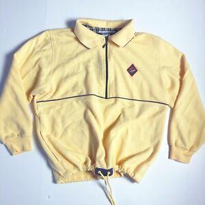 Vintage 80s 90s Jantzen Petites Pullover Top 1/4 Zip Cinched Waist Yellow