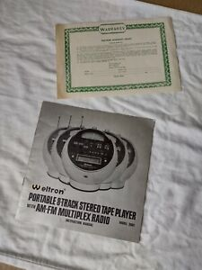 Vtg Weltron 2001  8 Track Stereo AM FM Space Ball Radio INSTRUCTION MANUAL>>RARE