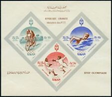 Libanon Lebanon 1961 Block 24 Ohne Blockpreis Inschrift Braun Olympiade Rom MNH