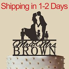 Personalized Family Wedding Cake Topper, Acrylic,Wedding Gift, Made in USA 6''