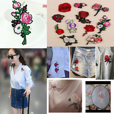 11pcs Embroidered Rose Flower Iron on Sew Bag Hat Dress Patch Badge Applique Hot