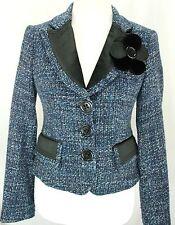 Nanette Lepore Women Blazer Size 4 Jacket Blue Black Wool Blend Silk Flower USA
