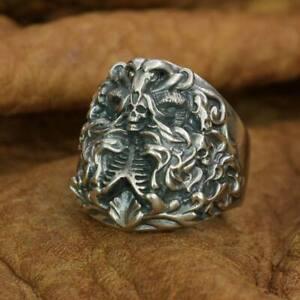 LINSION 925 Sterling Silver Dark Banshee Skull Ring Mens Ring TA259A US Size 11