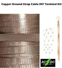 """10' Copper Ground Strap Cable KIT + DIY Terminal Kit 3/8""""  FLAT Braid Wire"""