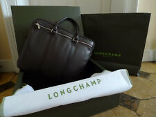 LONGCHAMP PORTE DOCUMENT ORDINATEUR IPAD CUIR MOKA LE FOULONNE S ETAT NEUF