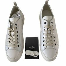 Coach C114 White Low Top Leather Sneaker Mens Size 12D New In Original Box