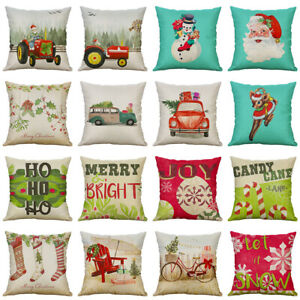 "18"" Christmas Style Cotton Linen Pillow Case Throw Cushion Cover Home Décor Gift"