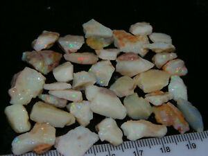 Nice Rough Coober Pedy Opal Parcel 102cts White/Milky Seam Multicolours NR Lot