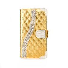STRASS Handy Tasche Schutz hülle für Apple iPhone 6 Flip Cover Case Gold K917