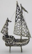Vintage Solid Silver Italian Made Large Sailing Ship Miniature Stamped Figurine
