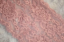"1 yard Pastel Baby Pink GALLOON STRETCH textured lingerie LACE 6"" Wide"