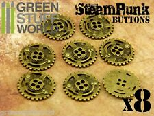 8x Botones RUEDAS DENTADAS SteamPunk 22mm - color Oro Viejo - Abalorios