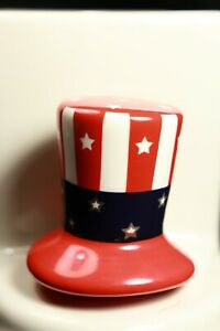 """Nora Fleming Mini """"Home of the Free"""" Uncle Sam Hat A53 (Retired Version) RARE"""