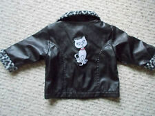 Park Bench Kids Faux Leather Embroidered Cat Jacket  SZ 12 Months