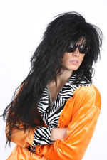 70's-80's Long Rocker Wig Black Wavy Shag Cut Synthetic Hair Costume Wig