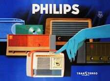MID CENTURY 1950'S / 60'S VINTAGE PHILIPS RADIOS ADVERTISEMENT A3 POSTER REPRINT