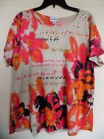 BRECKENRIDGE Women's Multi Short Sleeve Top Shirt Blouse Sz XL