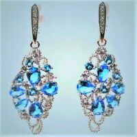 NATURAL FINE SWISS BLUE TOPAZ EARRINGS ~ WHITE GOLD/925 STERLING SILVER