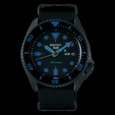 NEW Seiko 5 Sports 100M Mens Watch Blue Hands Ind Stealth ALL BLACK Nylon Strap