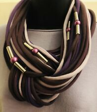 Stunning Designer Paloule Scarf In Purples And Lilac With Pearl Beads