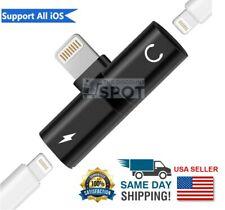 2 in 1 Lightning Adapter Headphone Jack Splitter Audio For iPhone 7 8 X XR XS 11