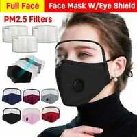 Washable Face Cover w/ Valve Clear Eye Shield Activated Carbon Filter Pad Gasket