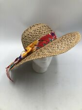 Billie Ross Sun Hat Womens Straw Top Shaders Palm Beaches Tropical Bow ~ Vintage