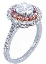 14k White Gold Round Cut Diamond Engagement Ring Pink Sapphire Double Halo 1.50c