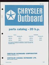 1969 CHRYSLER  20HP OUTBOARD MOTOR PARTS MANUAL /  OB 1157