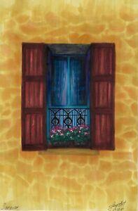 original drawing 13,5 x 20,5 cm 54PIr art samovar marker sketch window facade