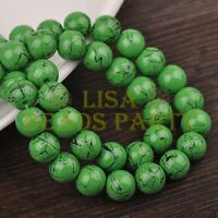 30pcs 10mm Round Black Stripes Charm Loose Spacer Glass Beads Green
