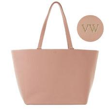 PERSONALISED MONOGRAM Womens Ladies Genuine Real Leather Tote Handbag Bag Taupe