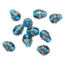 5002 Bead Glass Teardrop Blue 26mm PK12 *UK  SHOP*