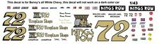 #72 Benny Parson Kings Row Fireplace Shops Chevy 1/43rd Scale Slot Car Decals