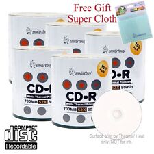 500 Smartbuy CD-R 52X White Thermal Hub Printable Disc + FREE Micro Fiber Cloth