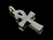 "Men's 10k Yellow Gold Solid Ankh Cross Genuine Diamond Pendant 0.50ct 1"""