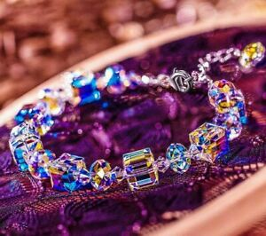 "Gorgeous Aurora Austria Bracelet with Crystals 18K White Gold Adjustable 7""-9"""