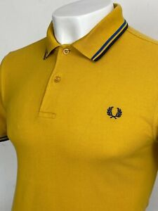 Fred Perry   Twin Tipped M1200 Pique Polo Shirt S M (Yellow) Mod Scooter 60s