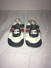 Tommy tickle Boys 6-12  Months Blue White Red Soles Leather  Baby Shoes Used
