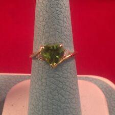 2 Carat Peridot & Diamond (10 Pts) 14k Yellow Gold Woman's Ring Size 6