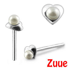 STERLING SILVER HEART WITH FAUX PEARL NOSE STUD WIRE NW36