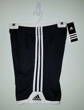 NWT $22 Adidas Boys SMALL (8) Athletic Shorts BLACK WHITE Gym Sports NEW 320116