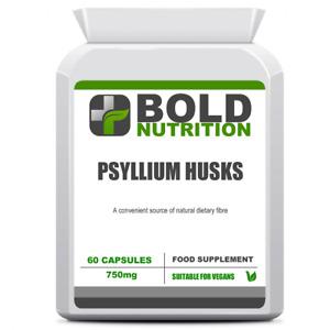 Psyllium Husks 750mg 60 Vegan Capsules Convenient Daily Source of Dietary Fibre