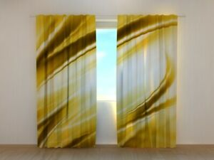 Photo Curtain Modern Golden Abstraction Yellow Luxury Wellmira Made to Measure