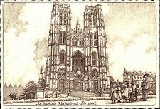 BRÜSSEL Bruxelles Belgien ~1950/60 Kathedraal Kathedrale Kirche Künstlerkarte
